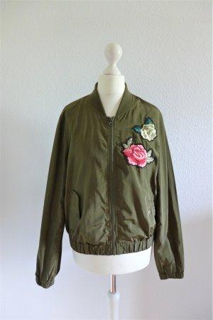Bomber Blouson Jacke khaki grün Blüten Blumen Gr. S 36