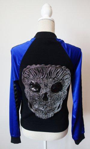 Bomberjack zwart-blauw Polyester