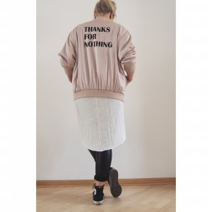 Bomber Jacke Thanks for nothing M L 38 40 42 rosa schwarz Blouson Jacke Zara