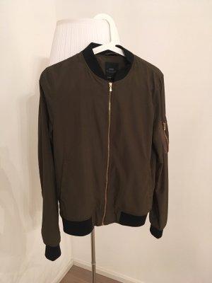 Zara Basic Bomberjack donkergroen-khaki