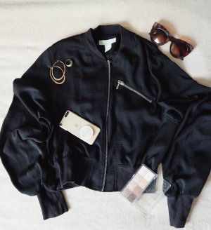 H&M Bomberjack zwart-zilver Synthetisch
