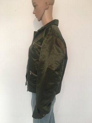 Bomber xxl oversize l large Eddy's Jacket boyfriend oliv grün mattglänzend dünnes steppfutter innen cool lässig outerwear Outdoor jacke blouson