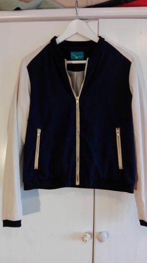 Bomberjacke, blau/cremeweiß glänzend,L -Am 30. April schließe ich meinen Kleiderschrank!!!