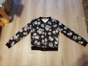 Bomberjacke Blouson Blumen Rosen rosa lila schwarz