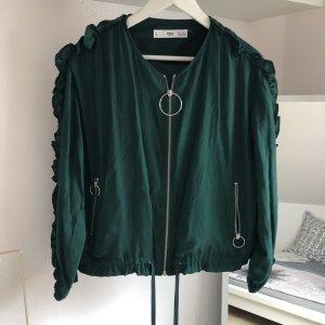 Bomberjacke Blouson Jacke leicht Rüschen grün / khaki / petrol