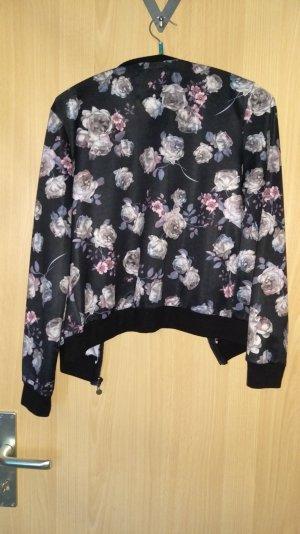 Bomberjacke Flower schwarz