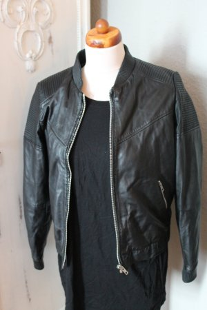 Mango Bomber Jacket black leather