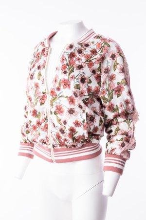 Bomberjacke mit Blumenmuster und Pailetten Rosa-Weiß Gr. S-M NEU