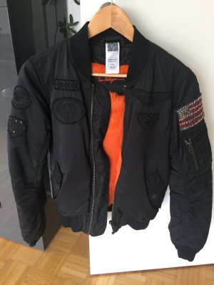 True Religion Chaqueta bomber negro-naranja neón poliamida