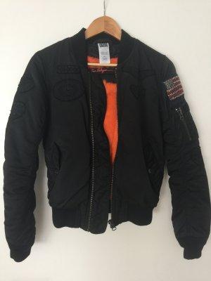 True Religion Blouson aviateur noir-orange polyamide