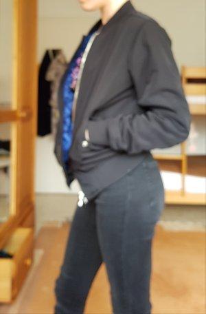 Bershka Blouson aviateur noir-bleu acier polyester