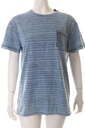 Bomboogie T-shirt korenblauw-lichtblauw gestreept patroon casual uitstraling