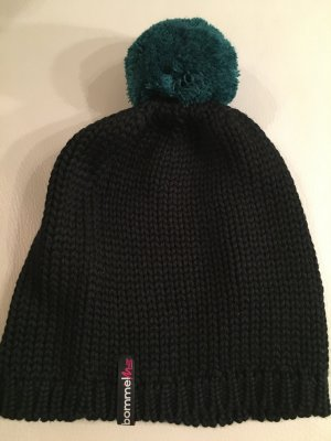 Beanie black-dark green mixture fibre