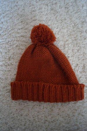 Bommel Mütze Winter orange Rot