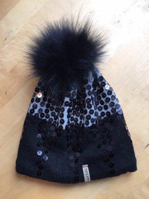 norton Bonnet à pompon noir-gris clair