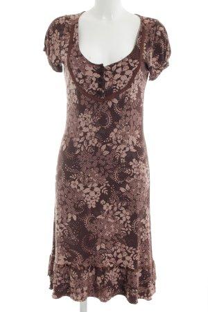 Bon'a Parte Midi Dress brown-bronze-colored flower pattern casual look