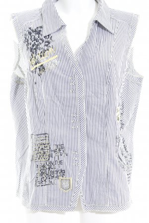 Bonita ärmellose Bluse weiß-grau Streifenmuster Casual-Look
