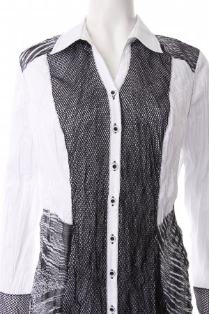 Bonita Kreukelblouse wit-zwart abstract patroon Materiaalmix-look