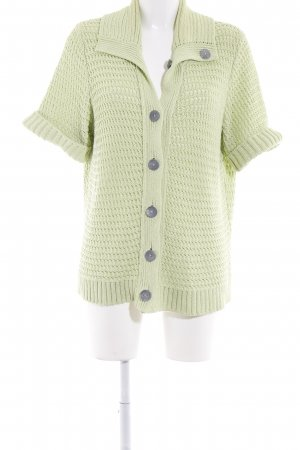 Bonita Coarse Knitted Jacket lime-green weave pattern casual look