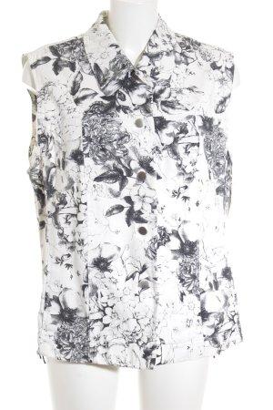 Bonita Gilet en jean blanc cassé-taupe motif de fleur style décontracté
