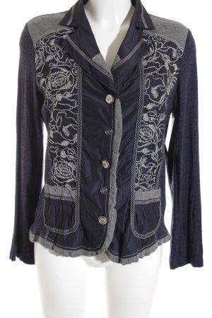 Bonita Jerseyblazer hellgrau-dunkelblau florales Muster extravaganter Stil