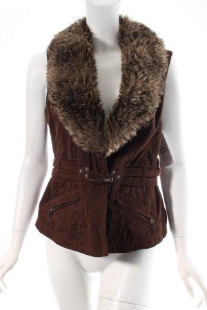 Bonita Vest van imitatiebont bruin straat-mode uitstraling