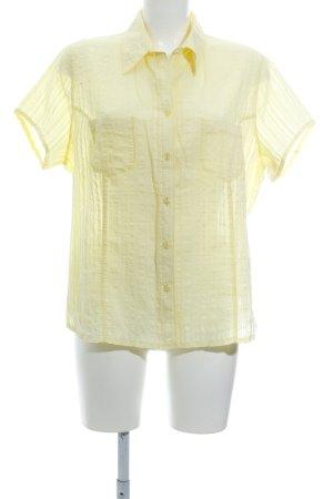 Bonita Kurzarm-Bluse blassgelb Streifenmuster Elegant