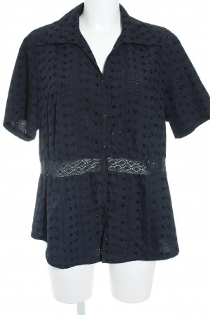 Bonita Short Sleeved Blouse dark blue loosely knitted pattern casual look