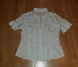 Bonita Blusa de manga corta blanco tejido mezclado