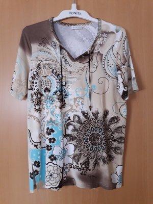 Bonita: Kurzarmshirt Mustermix Größe M mit Strasssteinchen