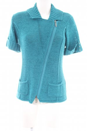 Bonita Short Sleeve Knitted Jacket turquoise casual look