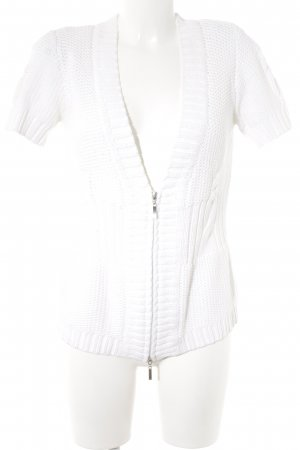 Bonita Short Sleeve Knitted Jacket natural white cable stitch casual look
