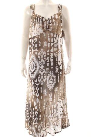 Bonita Maxikleid weiß-graubraun abstraktes Muster Gypsy-Look