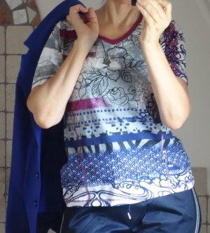 Bonita Shirt, Viskose, blau, weiß fuchsia pink gemustert mit Strass, TOP Qualität, neuwertig, Gr. 38/40