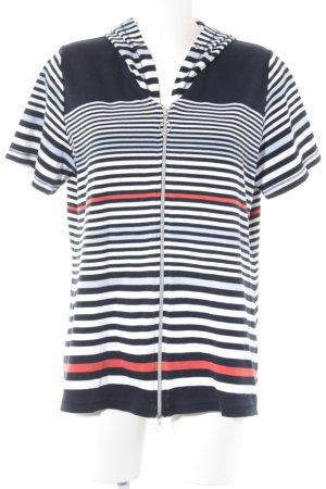 Bonita Chaqueta estilo camisa estampado a rayas estilo naval