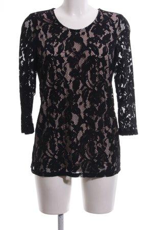 Bonita Spitzenbluse schwarz-creme Blumenmuster Elegant