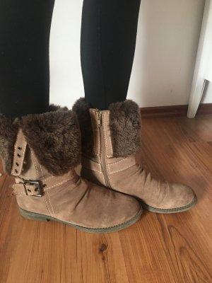 Bonita stiefel Stiefeletten Wildleder Lederstiefel braun Boots 37 38 Fake fur gefüttert