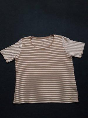 Bonita T- Shirt weis hellbraun gestreift