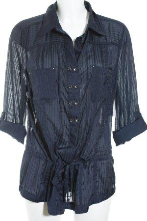 Bonita Transparenz-Bluse dunkelblau Streifenmuster Casual-Look