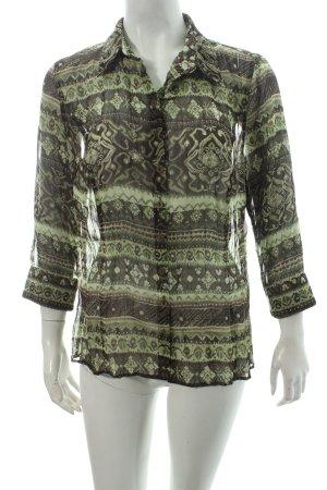 Bonita Transparenz-Bluse dunkelgrün-grün Ornamentenmuster Casual-Look