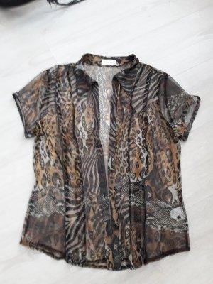 Bonita Twin Set: Bluse transparent mit braunem Top Größe 40-42