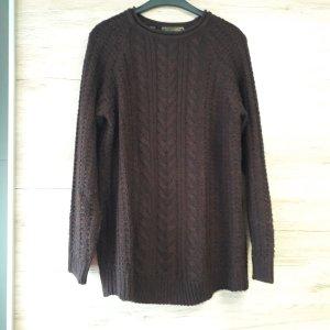 b.p.c. Bonprix Collection Knitted Sweater black-bordeaux