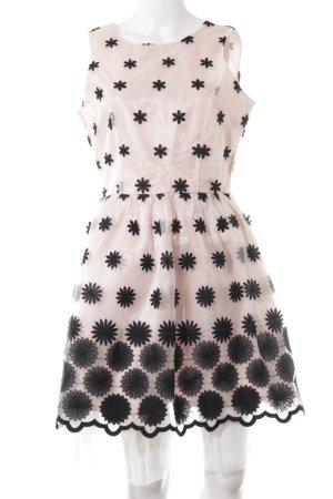 Boohoo A-Linien Kleid rosé-schwarz Blumenmuster 50ies-Stil