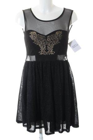 Boohoo Abendkleid schwarz-goldfarben Elegant
