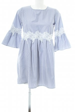 Boohoo Blusenkleid stahlblau-weiß Streifenmuster Elegant
