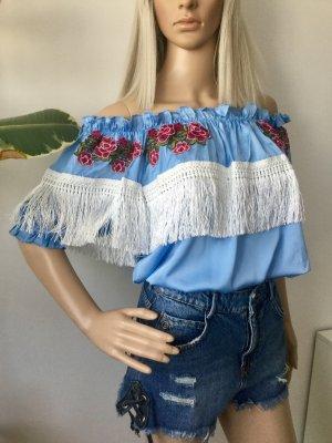 BOOHOO Damen Kurzer Top Bluse mit Fransen Gr.36
