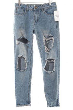 Boohoo Jeans hellblau Destroy-Optik