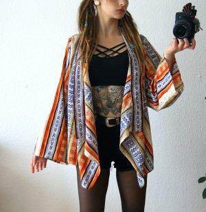 Boohoo Kimono Bluse bunt, aztek Blusencardigan Wasserfallschnitt, boho hippie festival
