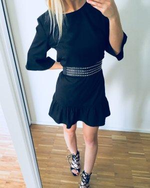 Boohoo Kleid ausgestellt Volants S 36 Schwarz