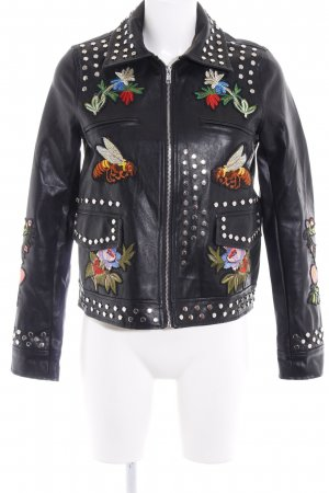 Boohoo Faux Leather Jacket black retro look